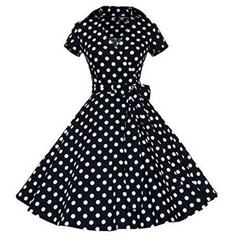 E-Girl M120718D Robe de bal Vintage pin-up 50's Rockabilly robe de soirée cocktail,S-XXXXL Point noir