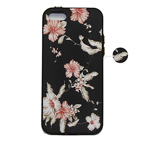 Custodia iPhone 5S, iPhone SE Cover Silicone, SainCat Cover per iPhone 5/5S/SE Custodia Silicone Morbido, Creative Design Custodia Cover Flower Ultra Slim Silicone Case Ultra Sottile Morbida TPU Cover Althea
