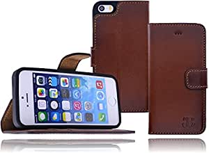 Burkley Premium Antik Leder Handy-Tasche für Apple iPhone SE / 5 / 5S Schutz-Hülle Book Cover mit Kartenfach im Vintage / Retro Look in old cognac branded