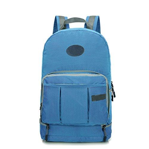 Leicht Wasserdicht Outdoor Sport Tasche Reise Sammlung Faltbar Rucksack Blue
