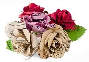 Bouquet di rose di carta da musica riciclata realizzato a mano, XL, vari colori (7.5cm x 7.5cm)
