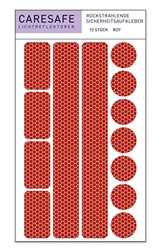 Caresafe Reflektierende Licht Reflektoren Aufkleber rot - 13 Reflektoraufkleber Set für Kinderwagen, Fahrrad und Helme - Reflektor Leuchtaufkleber Sticker