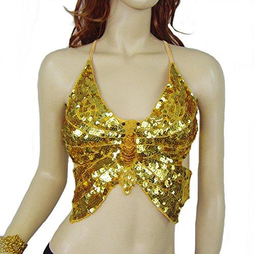 (XSQR Damen Sexy Turkish Emporium Bauchtanz Kostüm Pailletten Oberteil Top BH Reizwäsche Catsuit,Gold)