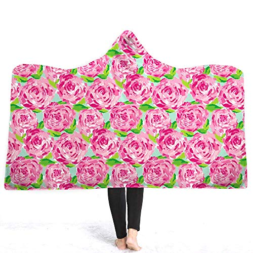 Weimilon Roses Hooded Blanket for Woman Casual Chic 3D Printed Floral Sherpa Fleece Wearable Kids Throw Blanket Microfiber (Color : Colour, Size : 150 * 200)