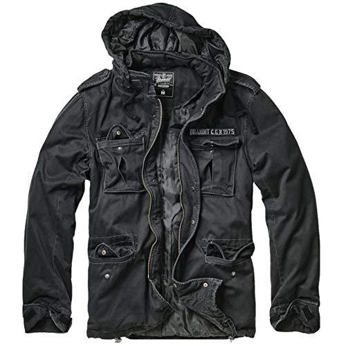 Jacke für Herren schwarz schwarz Brandit Aviator Kapuze Stoff Motorrad Biker Custom M Schwarz