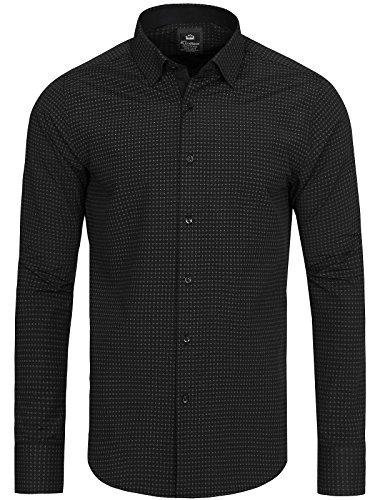 OZONEE Herren Klassisch Hemd Freizeithemd Langarm Shirt Casual Slim Fit RAW LUCCI 796 Schwarz-10_BR-1035/10
