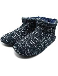 ONCAI Hombres de Punto de Lana Patrón Trenzado Cálido Interior Zapatillas Botas de estar Por Casa con TPR Suela de Goma Antideslizante