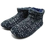 ONCAI Herren Kaschmir Knit Slipper Boots Fluffy Kunstpelz Bequem Memory Foam Haus Slip auf Booties Hallenschuhe