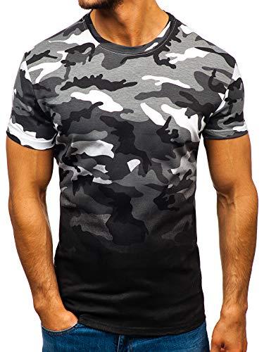 BOLF Hombre Camiseta de Manga Corta Diseño Camuflaje Escote Redondo Estilo Diario J.Style S808 Gris S [3C3]