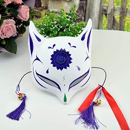 FYPmian Mascarade Gesichtsmaske von etwa 40 g, umweltfreundliche PVC-ungiftige Maske, japanische Männer und Frauen Fuchsmaske, ungiftige cos halbe Gesichtsmaske (Color : I)