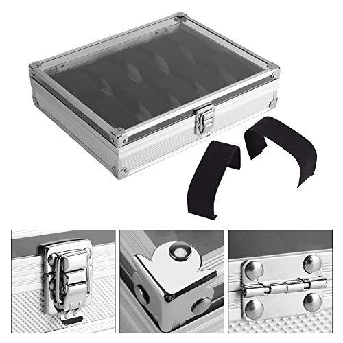 Caja de reloj de aluminio plateado color reloj almacenamiento caso decoración de hogar reloj organización caso, Plateado, 12 grids