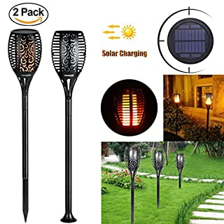 Solar Lights LED Flame Lamp for Garden Outdoor Waterproof Flickering Flames Torches Lights Dusk to Dawn Auto On/Off Security Path Lights for Garden Patio Deck Driveway(Pack of 2)by Lebandwit
