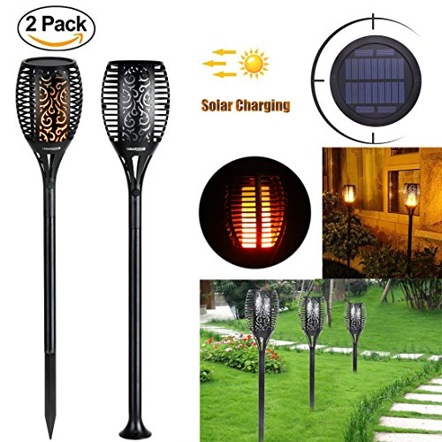 Solar Lights LED Flame Lamp for Garden Outdoor Waterproof Flickering Flames  Torches Lights Dusk to Dawn Auto On/Off Security Path Lights for Garden