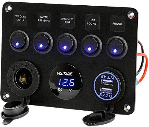 5 Gang Ein-Aus-Marine-Zündung Toggle Rocker Switch Panel wasserdicht mit Digital Voltmeter 4.2A Doppel-USB-Ladegerät Zigarettenanzünder-Buchse für RV-Auto-Boots Fahrzeuge LKW-Anhänger-Yacht (blau) -