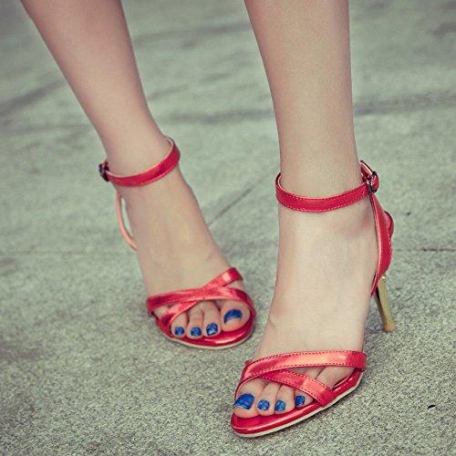 MissSaSa Donna Sandali col Tacco Alto Moderno Fashion Rosso