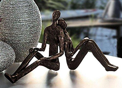 """Casablanca 74605 Design Skulptur - Dekofigur - """"Dreaming"""" - träumendes Paar - Eisen silber 20 x 10,5 x 7 cm"""