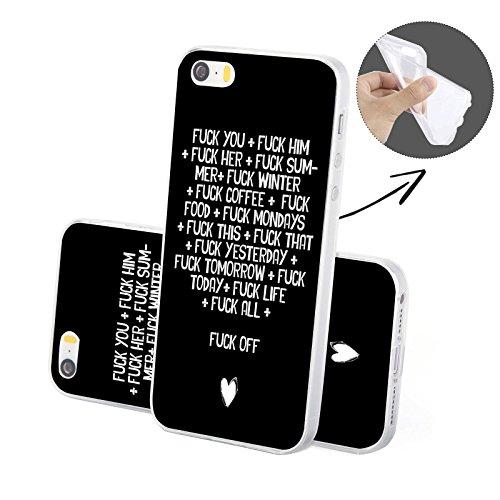 FINOO Solo Case 2 Silicone TPU custodia per cellulare - Music on, iPhone 6/6S Fuck off