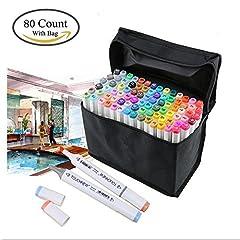 Idea Regalo - Togood, set professionale di pennarelli, 80colori differenti, pennarelli a doppia punta, fine e larga, per animazione, fumetti, design, tubo di colore bianco