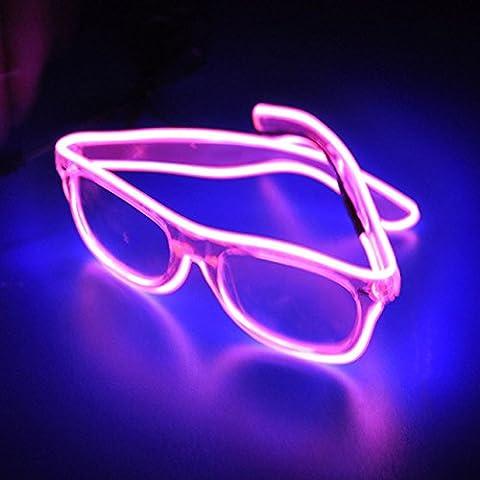 [Accessoires pour Noël] veeki EL fil LED Light Up Fashion Lunettes de lunettes Néon lumineux LED pour les fêtes, Costume, boule disco, les clubs, les HALOWEEN, anniversaires, fêtes, festivals rose