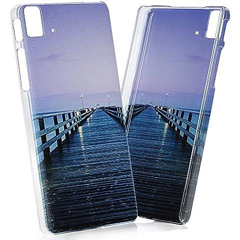 BQ Aquaris E5 HD Funda - Lanveni Chic Elegante Carcasa Rigida Dura ultra Slim para BQ Aquaris E5 HD(NO PARA BQ Aquaris E5 4G LTE) Transparente Protective Case - Patrón Puente de Madera Diseño