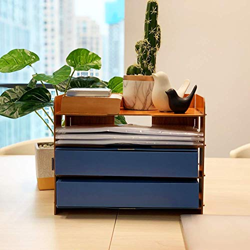 Desk Organisers, BelleJoomu Office Desk Tidy Organizer Wooden File Holder Sorter Desk Tray Shelf Book Storage with 4 Layer for Home Office 33x23x27cm