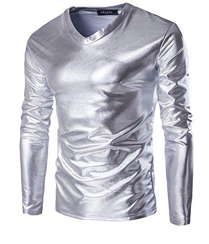 Choose Men's Trend Metallic Schlanke V-Ausschnitt Langarm T-Shirts Silber