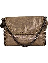 Handtasche Clutch Damen Emily klein Lederlook Kroko Glitzer Metallic Optik mit Kette