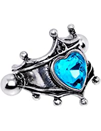 """Body Candy Steel Brilliant Blue Accent Queen of Hearts Cuff Cartilage Earring 16 Gauge 1/2"""""""