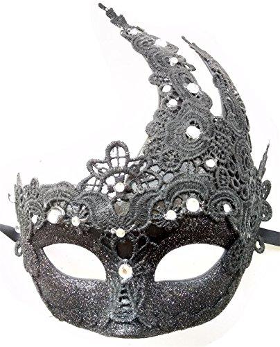 in Maskerade Masken Halloween Party Makramee Schnüren & Strasssteine Maskerade Masken (Schwarz) (Göttin Für Halloween)