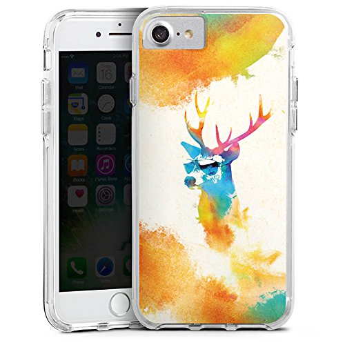 Apple iPhone X Bumper Hülle Bumper Case Glitzer Hülle Hipster Hirsch Deer Bumper Case transparent