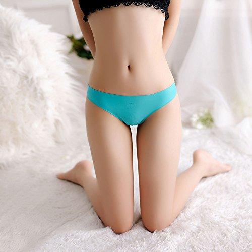 Meiye Frauen Eis-Seide Hintern Rücken Nahtlose Spitze Thong Low-rise Höschen Türkis