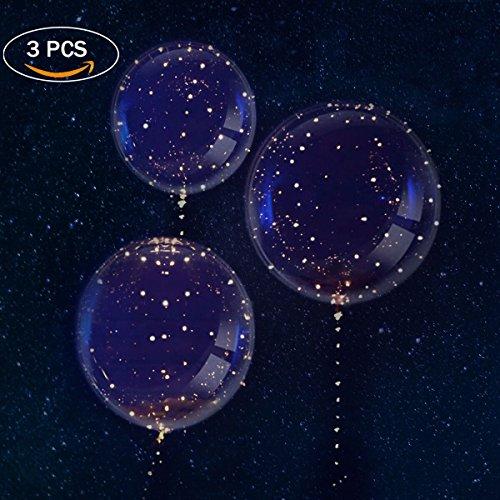 3 Stück LED Ballons, Aufhellen Transparent Ballons, (Ändern Bunt Licht Ballon) Valentinstag Dekoration, Party, Hochzeit, Verschiedene Festivals, Jahrestag Feierlichkeiten von PROACC (Transparente Luftballons Kleine)