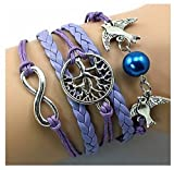 SheClub® Wax Rope Braided Purple Lilac Mauve Bracelet, Infinity/ Infinity Wish / Birds Swallow with Blue Pearl Bead/ Wish Tree Life of Tree Bracelet, Friendship Bracelet,