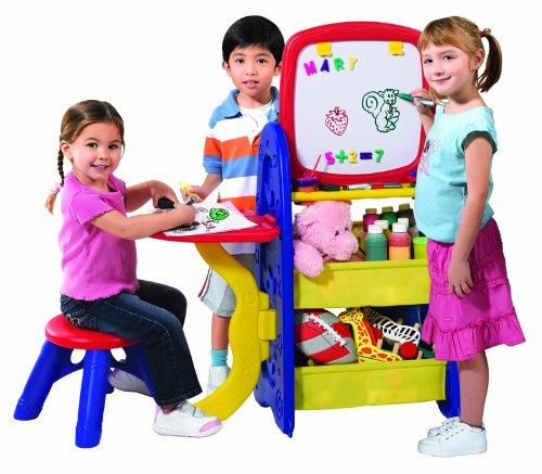 ore Aktivitätscenter 6in1 Doppelseitige Staffelei | Tafel | Beistelltisch und Stauraum für Kinder | ️ Kunst und Spiel ()