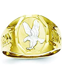 10k Yellow Gold and Rhodium Mens Eagle Ring - Higher Gold Grade Than 9ct Gold