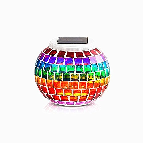 Solar Glass Mosaic Light Color Changing Night Lights,DINOWIN Waterproof Glass Table Lamp Solar Table Light for Garden Home,Yard, Indoor,Outdoor Decor (Rainbow)