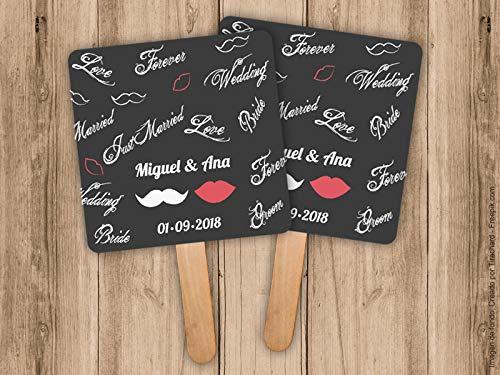 Pai Pai para bodas Mr & Mrs. personalizado. Pack de 25 unidades.