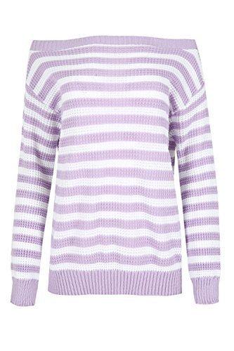 Damen Grob Gestrickt Contrast Streifen Schulterfrei Langärmlig Baggy  Übergröße Warm Pullover Sweatshirt Pullover UK Größen 8