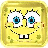 Procos 2350–Spongebob platos papel cuadrados, 8unidades, amarillo