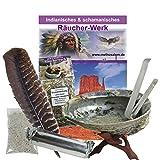 9-tlg Smudge Kit Räucherset Abalone Räuchermuschel 14-18cm + Ständer + Räuchermischung + Feder + Zange + Kohle + Zubehör + Anleitung | 81093