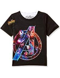 Marvel Avengers Round Neck Black Polyester T-Shirt for Boys DMA0036
