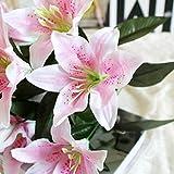 Timorly Kunstblumen, Lilie Bush künstliche Blume, 10 Köpfe Real Touch Parfüm-Lilien-Blumen-Blumenstrauß-Hochzeit/Graves/Vasen Blume Brautstrauß Hochzeit Party Decor(Rosa,5cm *5cm)