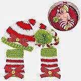 JZK® Set von 3 Stück Neugeborene Baby Fotografie Requisiten für Säugling Mädchen, häkeln gestrickte Hut Stulpen Kostüm Fotoshooting Props für Weihnachten Babyparty