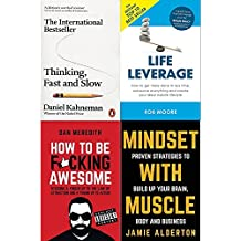 Thinking fast and slow, life leverage, how to be fucking awesome and mindset with muscle 4 books collection set