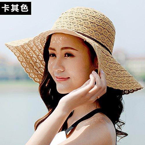 HAPPY-Cap Offener Strand des weiblichen Sommerstrohsonnenschutzes Faltbarer kühler Hut, braun
