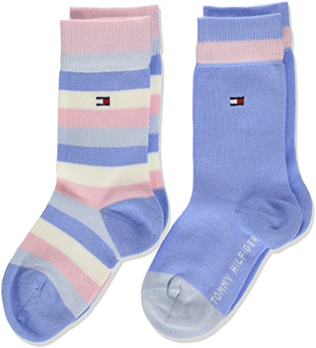 Tommy Hilfiger Mädchen TH Kids Basic Stripe Sock 2P, 2er Pack, Grau (Orchid Pink 146), 35-38