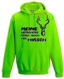 Meine Lederhose trägt noch der Hirsch - Oktoberfest NEON SWEATSHIRT, neongreen Gr.L