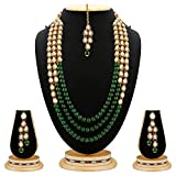 Rich Lady Green Kundan & Glass Pearl Necklace Set With Earrings For Women