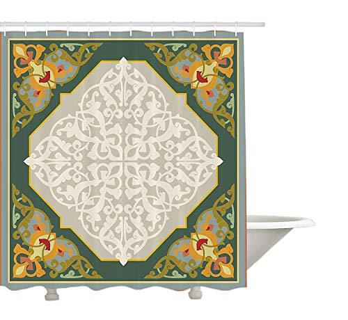 GWFVA Tenda della Doccia Orientale, Motivo a Scala di Grigi con Damasco influenzato Tradizionale Aspetto della Cultura mediorientale, Arredamento Bagno in Tessuto con Ganci, Multicolore