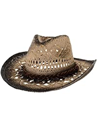 WITHMOONS Cowboy Cappello a Tesa Larga Western Cowboy Hat Cool Paper Straw  Banded Chin Strap GN8765 16fdab988df0